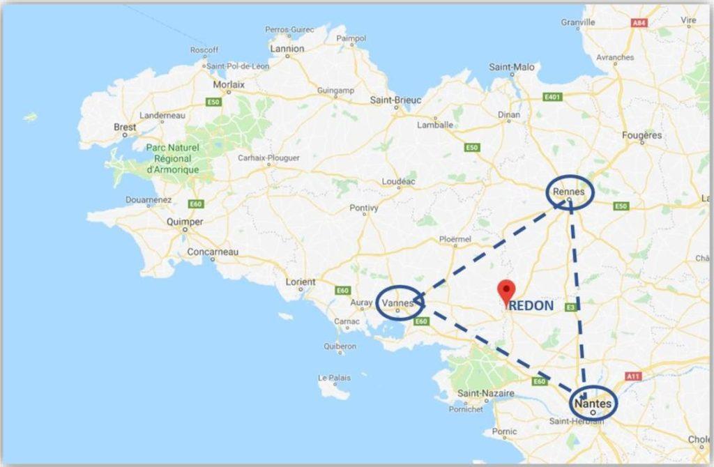 Localisation de TGSO à Redon entre Rennes Vannes et Nantes